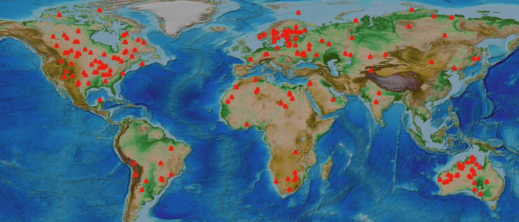 184 identifizierte terrestrische Impaktstrukturen