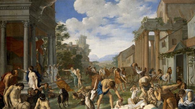 Als Sinnbild für die Pest eine Gemälde von Peter van Halen aus dem Jahr 1661. Der flämische Maler stellte eine Episode aus dem alten Testament dar - Gott bestraft die Philister und »schlug sie mit bösen Beulen«.