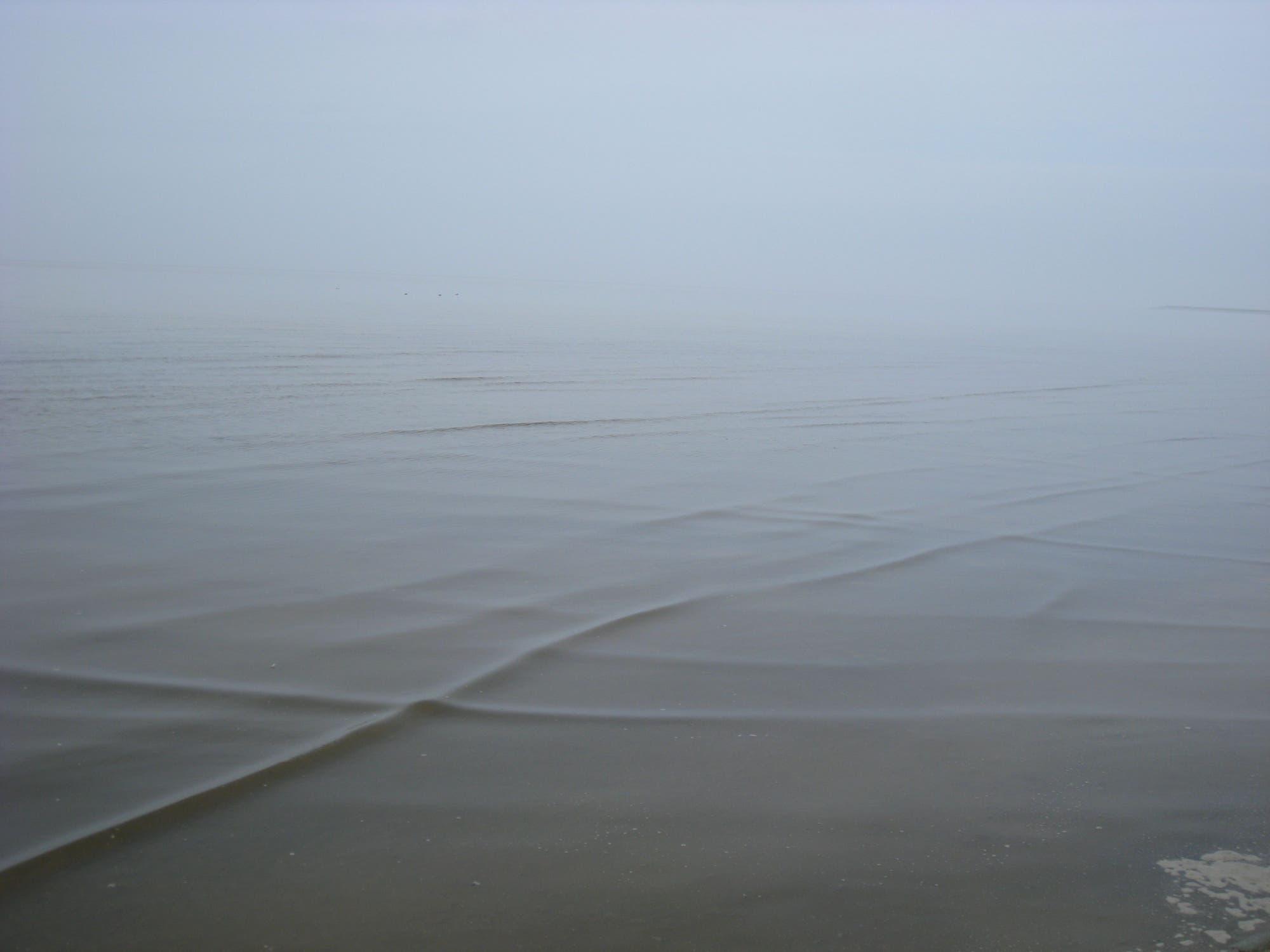 Foto flacher Wellen in Ufernähe im Watt, die sich kreuzweise durchdringen.