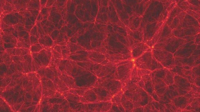 """Das Programm """"Bolshoi"""" simuliert das Weltall als Würfel mit einer Milliarde Lichtjahre Kantenlänge – viel kleiner als das echte. Und doch kommt der Endzustand des nachgemachten Universums der heutigen Gestalt des echten überraschend nahe."""