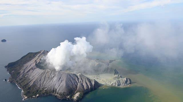 White Island nach der Eruption am 9. Dezember 2019