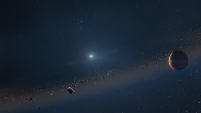 Eine Illustration des Systems: Forschende wollen einen jupiterähnlichen Exoplaneten gefunden haben, der einen Weißen Zwerg umkreist.