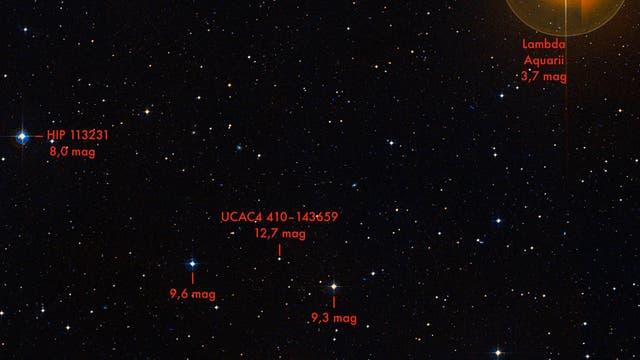 Ausschnitt aus dem Sternbild Wassermann nahe Lambda Aquarii