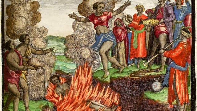 Illustration einer Witwenverbrennung um 1598