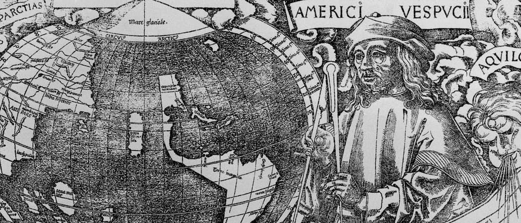 Weltkarte mit Amerigo Vespucci