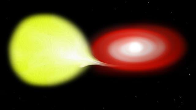 Ein Weißer Zwerg (rechts) saugt Gas von seinem Nachbarstern ab (Illustration).