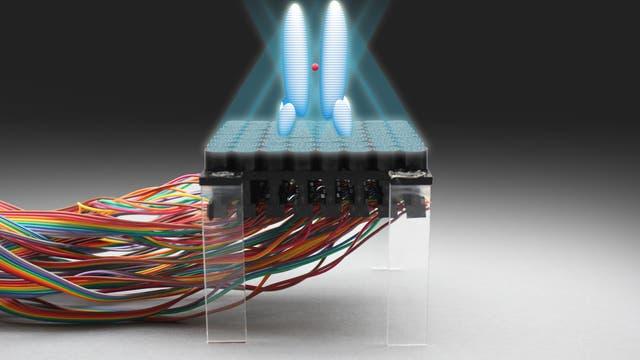 Ultraschalllevitator mit grafisch angedeutetem Hologramm