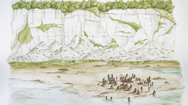 Rekonstruktionszeichnung des 480 000 Jahre alten Schlachtplatzes, wie ihn Archäologen aus der Fundsituation ermittelten.
