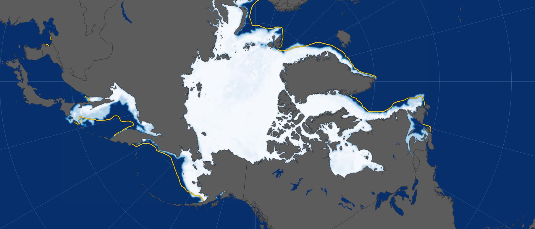 Eisbedeckung der Arktis im März 2017