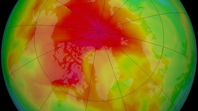 Ozonkonzentration über der Arktis