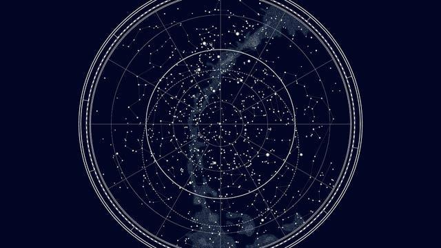 Eine Sternenkarte des Nordhimmels.