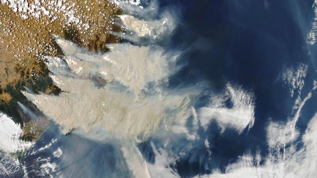 Buschbrände wehen Rauch und Asche auf den Pazifik hinaus