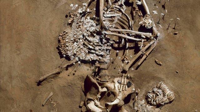 Typische Bestattung der Schnurkeramikkultur