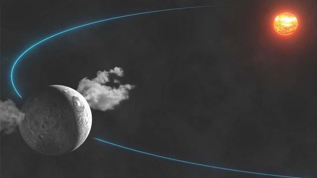 Zwergplanet Ceres stößt Wasserdampf aus (künstlerische Darstellung)