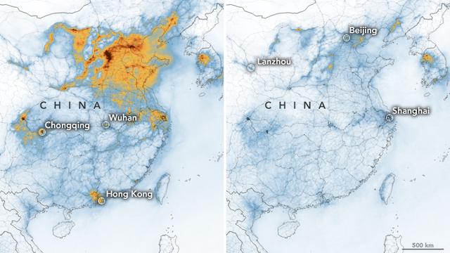 Stickstoffdioxid-Dichte über China: links im Januar 2020, rechts im Februar 2020