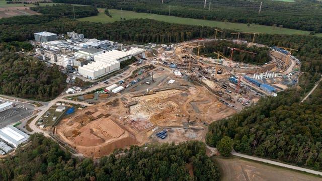 Baustelle des FAIR-Beschleunigers im September 2020