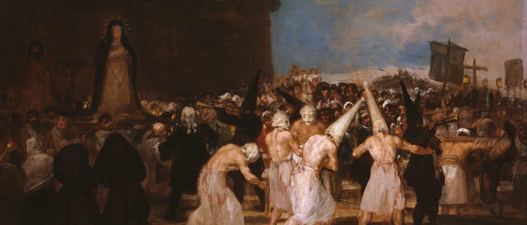 Ankunft der Geißler, Auschnitt aus einem Gemälde von Francisco de Goya, Anfang des 19. Jhds.