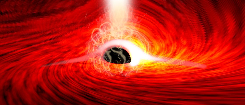 Illustration der Reflexion eines Röntgenblitzes an der Akkretionsscheibe eines Schwarzen Loches.