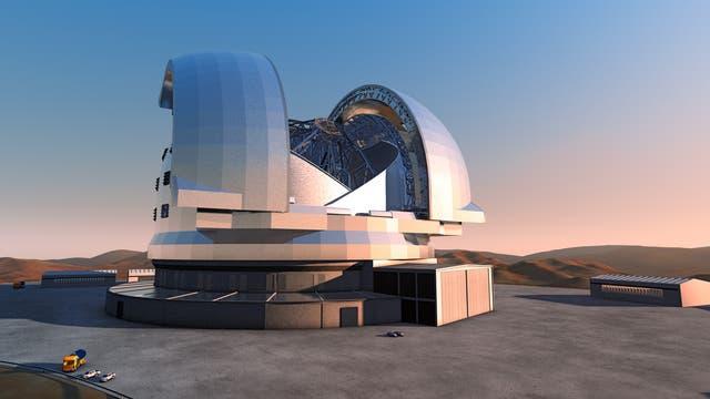 Künstlerische Darstellung des Riesenteleskops E-ELT