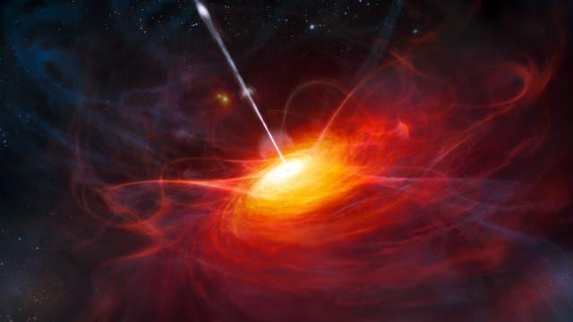 Schwarzes Loch mit einströmendem Gas und Gasstrahl