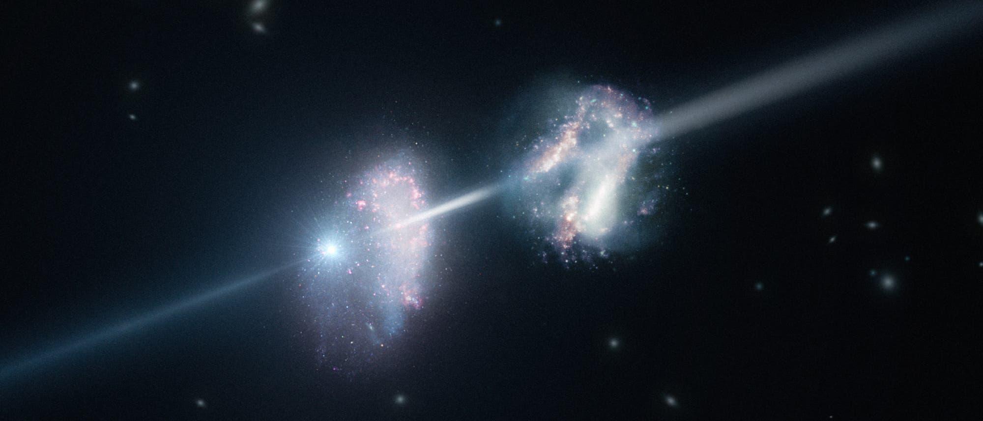 Künstlerische Darstellung der beiden vom Gammastrahlenausbruch durchleuchteten Galaxien.