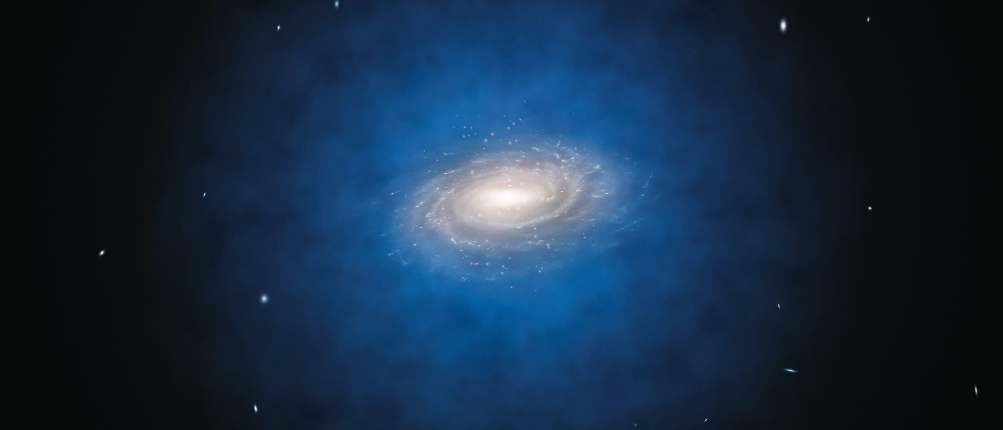 Verteilung der Dunklen Materie in der Milchstraße (künstlerische Darstellung)