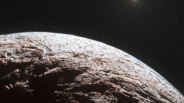 Künstlerische Darstellung der Oberfläche des Zwergplaneten Makemake