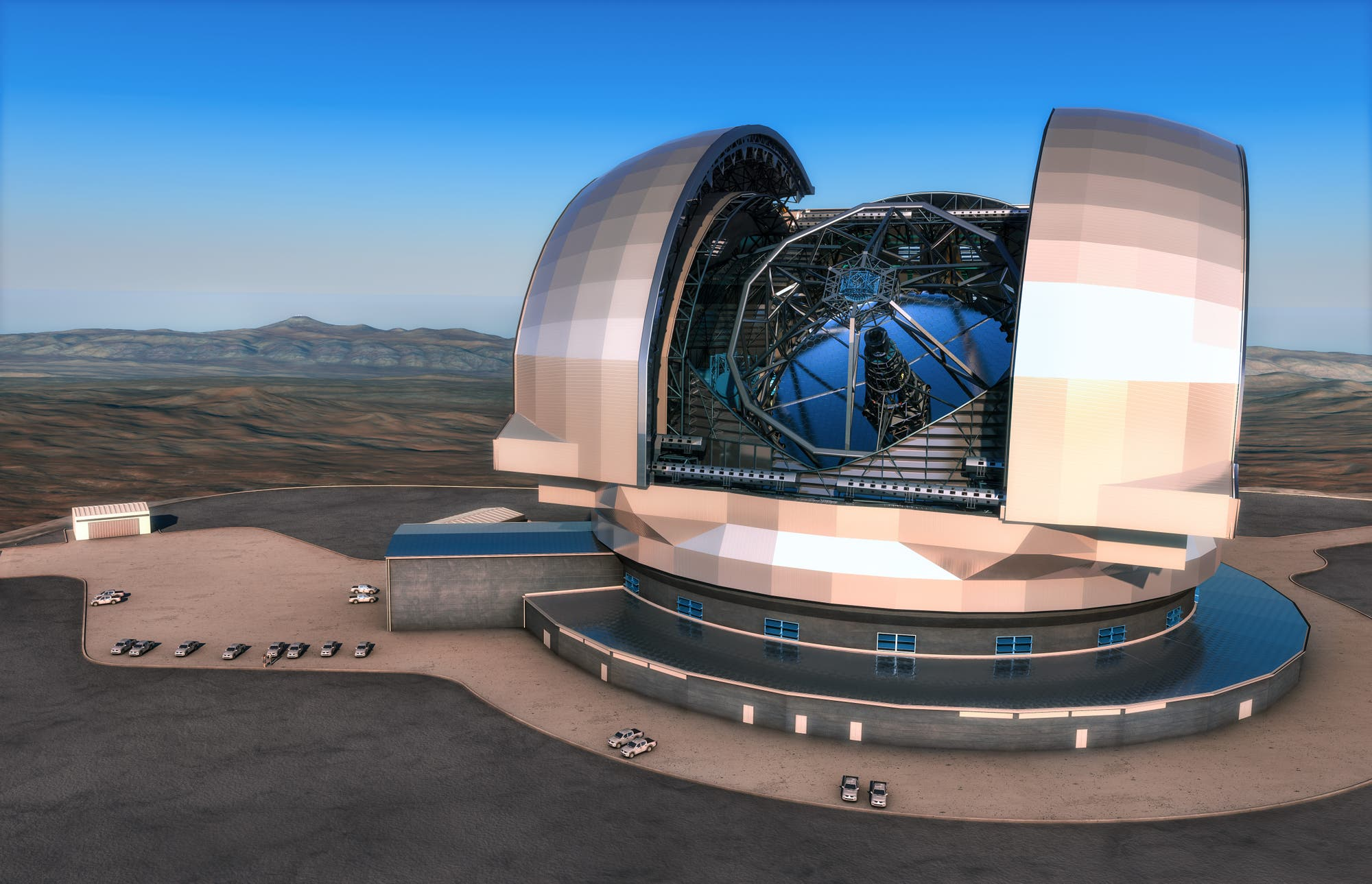 Das Riesenteleskop E-ELT (Computergrafik)
