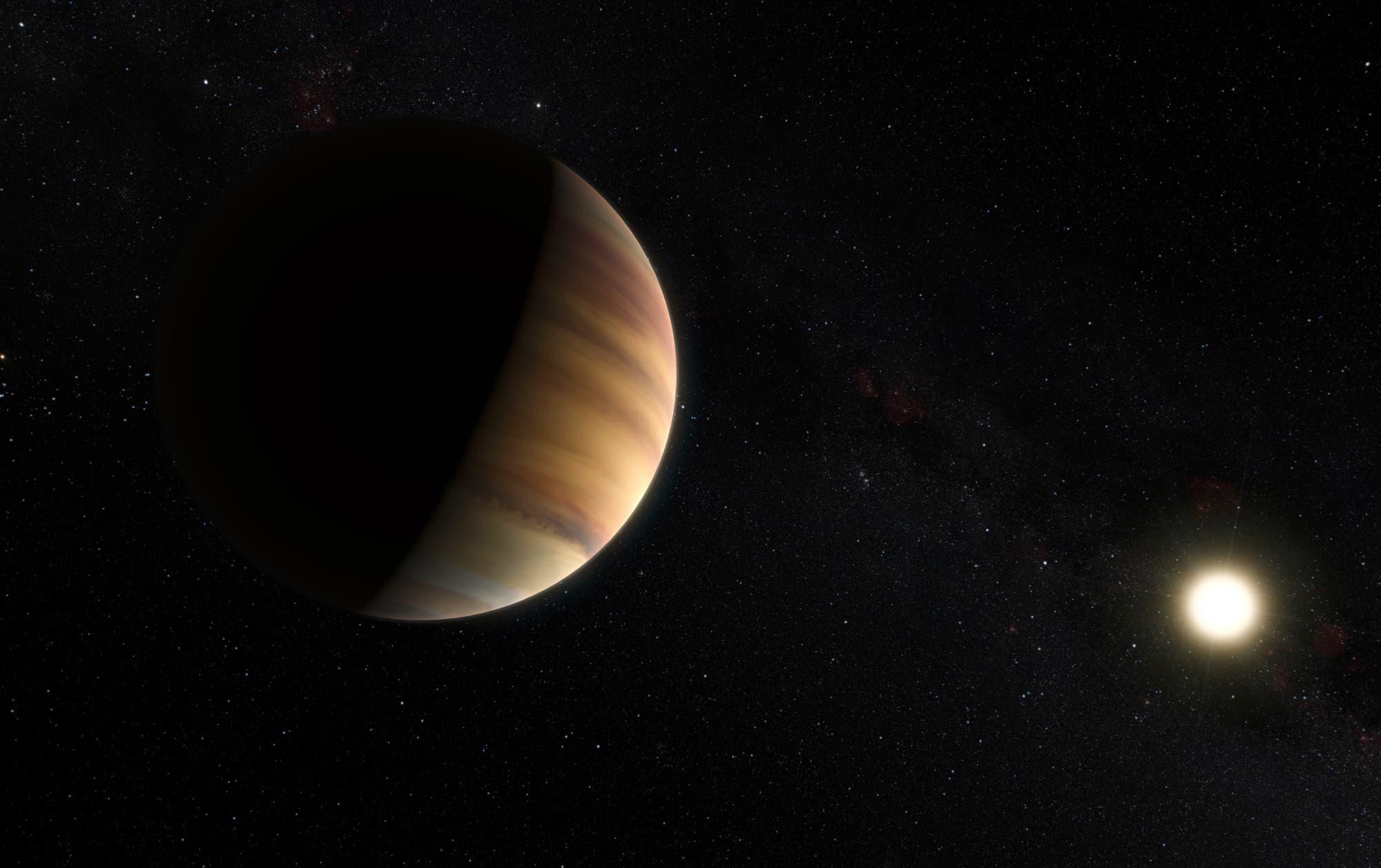 51 Pegasi b, der erste jemals entdeckte Exoplanet  (künstlerische Darstellung)