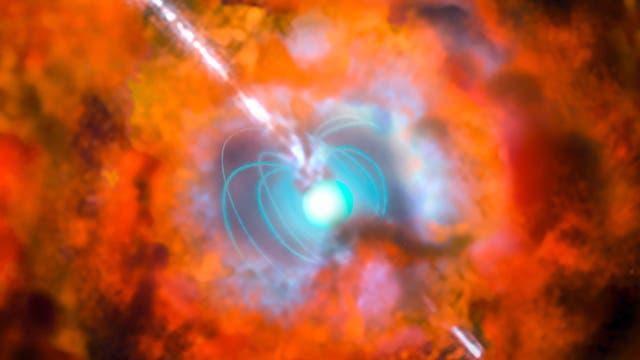 Supernova mit Magnetar als Energiequelle (künstlerische Darstellung)