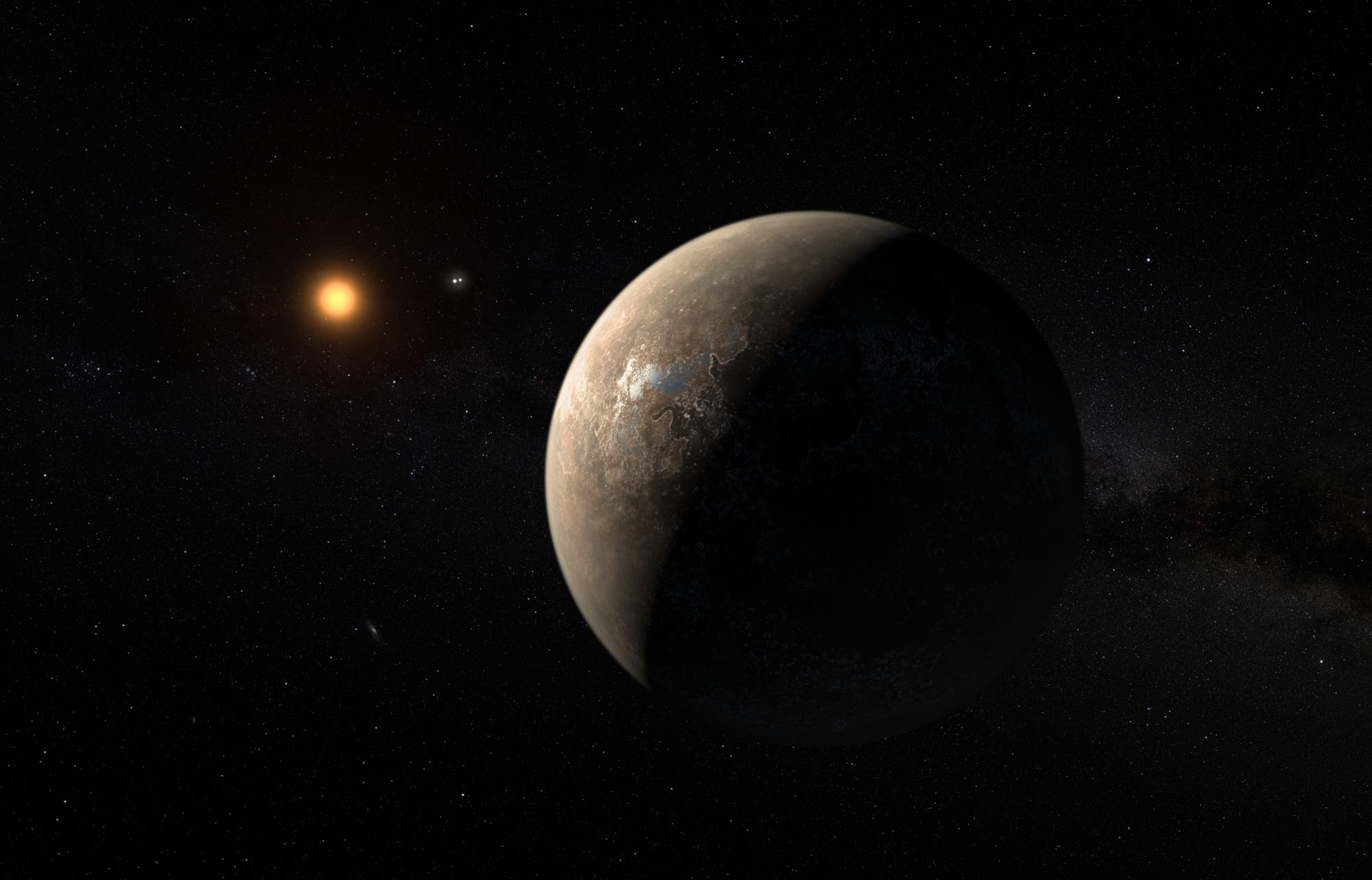 Exoplanet Proxima Centauri b (Künstlerische Darstellung)