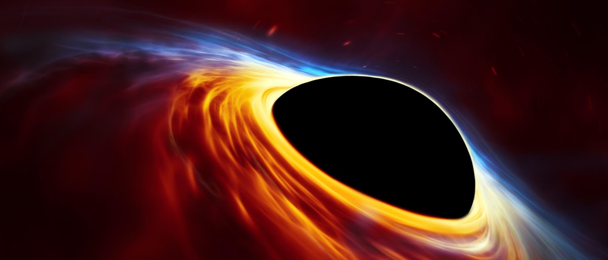 Diese künstlerische Darstellung zeigt ein schnell rotierendes supermassereiches Schwarzes Loch, das von einer Akkretionsscheibe umgeben wird. Diese dünne Scheibe aus rotierender Materie besteht aus den Überresten eines sonnenähnlichen Sterns, der durch die Gezeitenkräfte des Schwarzen Lochs auseinandergerissen wurde.