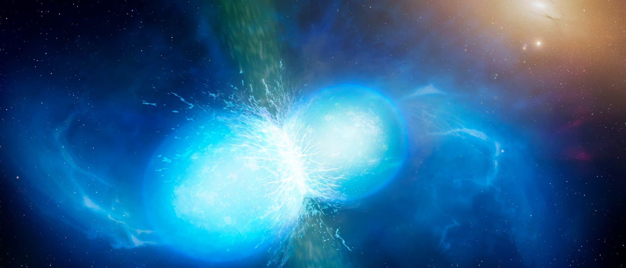 Künstlerische Darstellung verschmelzender Neutronensterne