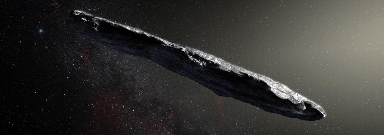 Bei seinem raschen Durchflug durch unser Sonnensystem schlug der bizarr geformte interstellare Asteroid 1I/'Oumuamua einen stark gekrümmten Haken.