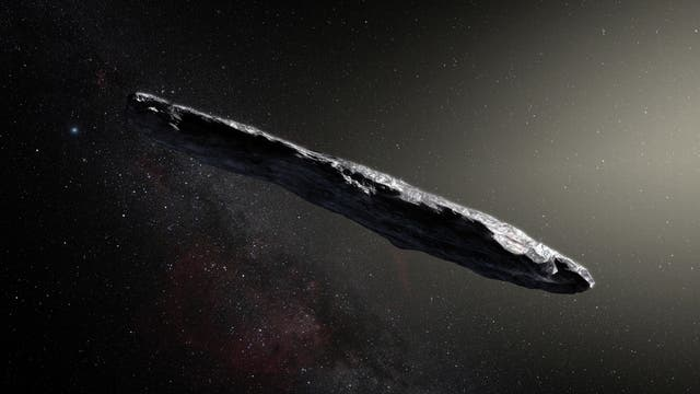 Künstlerische Darstellung des Asteroiden 'Oumuamua.