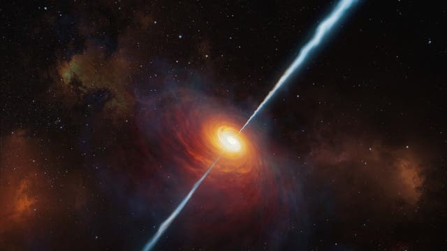 Der Quasar P172+18 in einer künstlerischen Darstellung