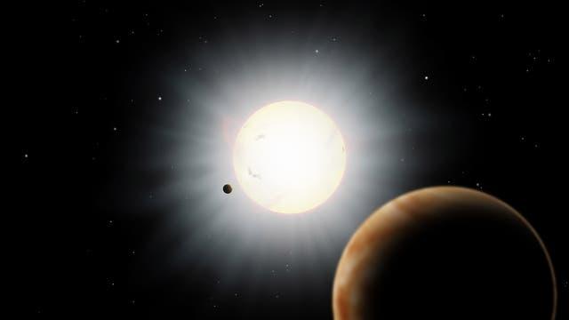 Künstlerische Darstellung des Exoplanetensystems HAT-P-7