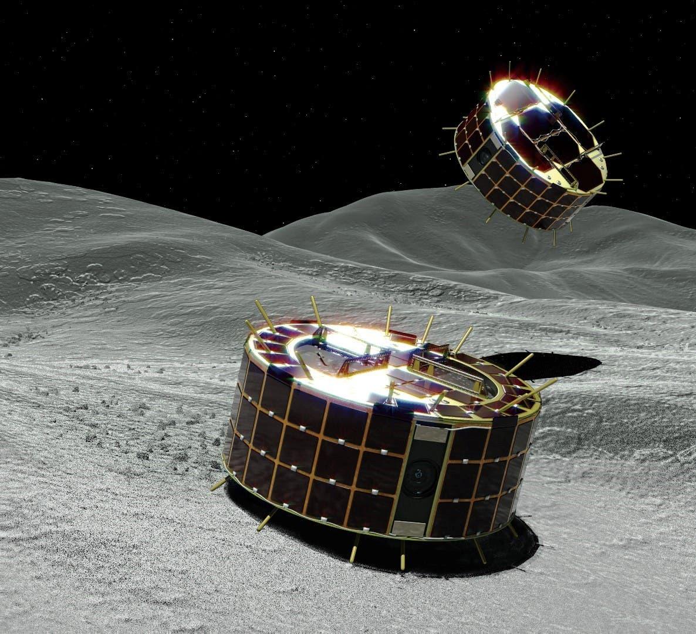 Die japanischen Mikrolander MINERVA-II für den Asteroiden Ryugu (Künstlerische Darstellung)