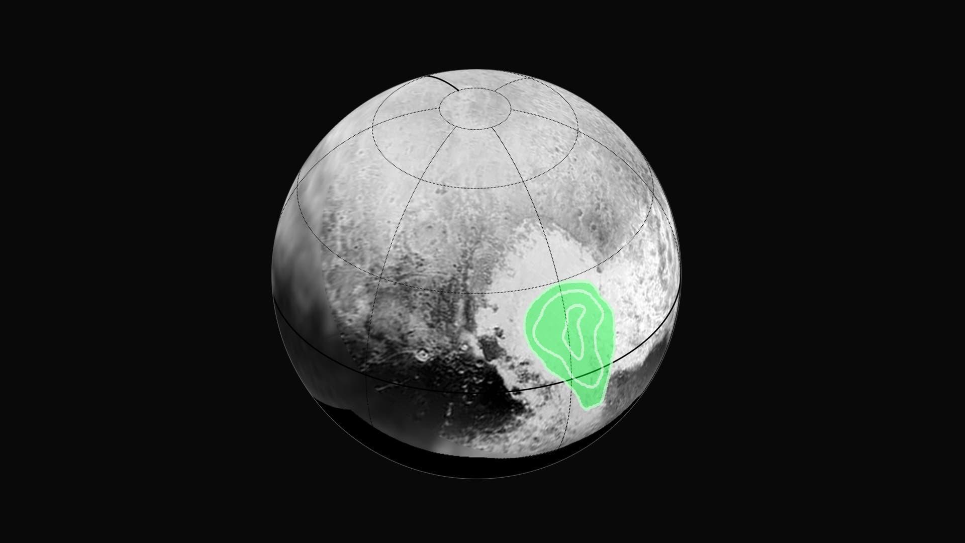 Kohlenmonoxideis auf der Pluto-Oberfläche
