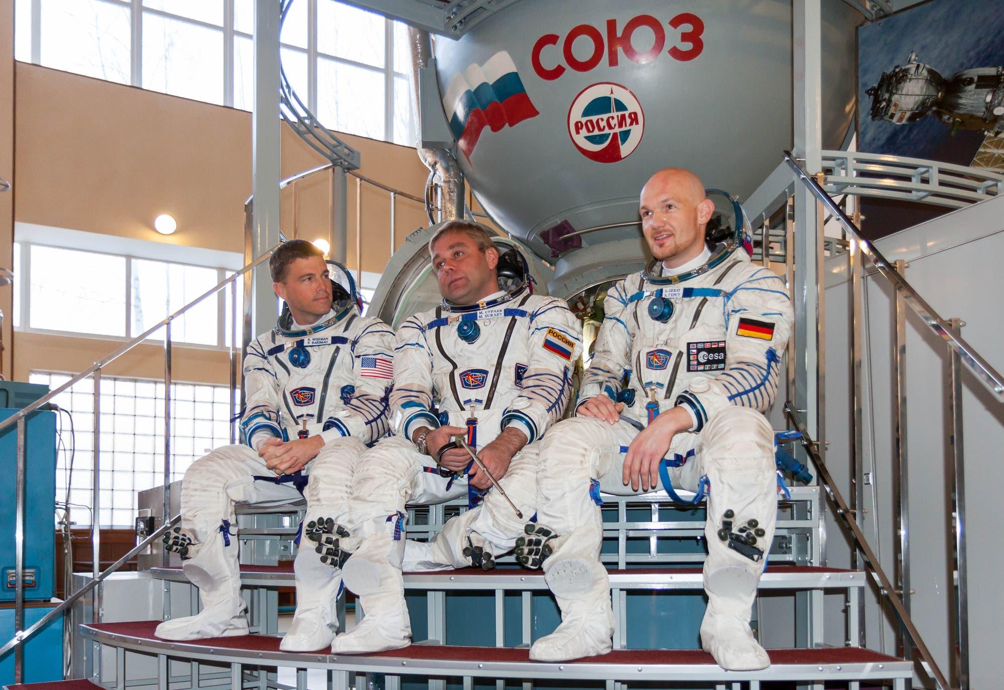 Langzeitbesatzung der ISS: Die Kosmonauten Gerst, Surajew und Wiseman