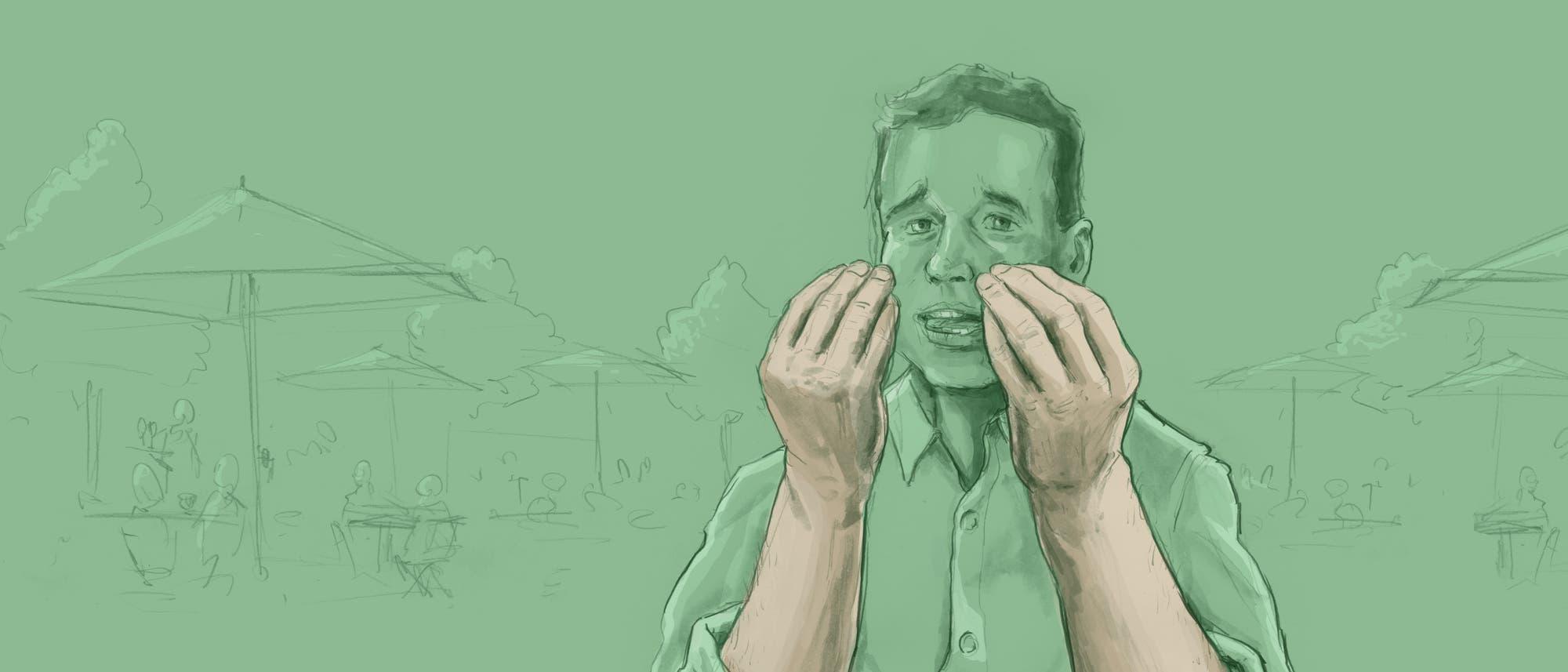 Illustration eines mit den Händen gestikulierenden Mannes
