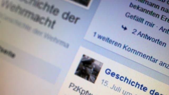 """Screenshot der Facebook-Seite """"Geschichte der Wehrmacht"""""""