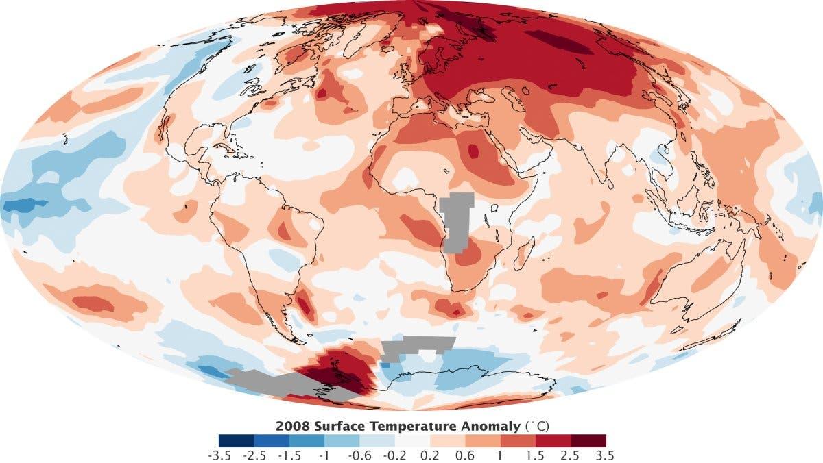 Temperaturanomalien 2008