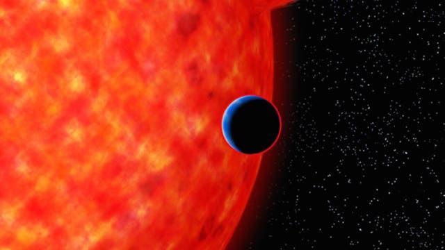 Exoplanet GJ 3470b in künstlerischer Darstellung