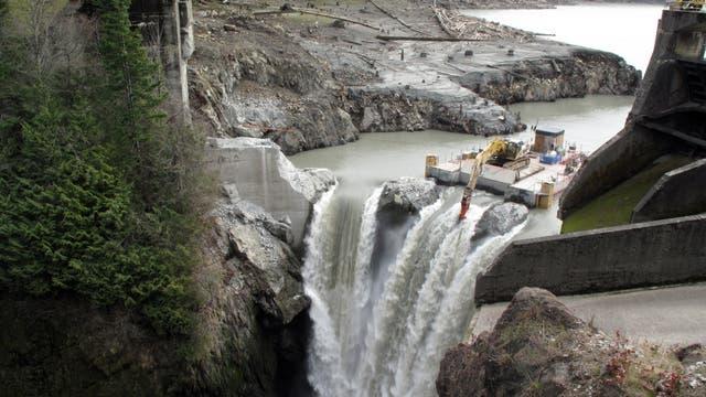 Schritt für Schritt wurde auch der Glines Canyon Dam zurückgebaut