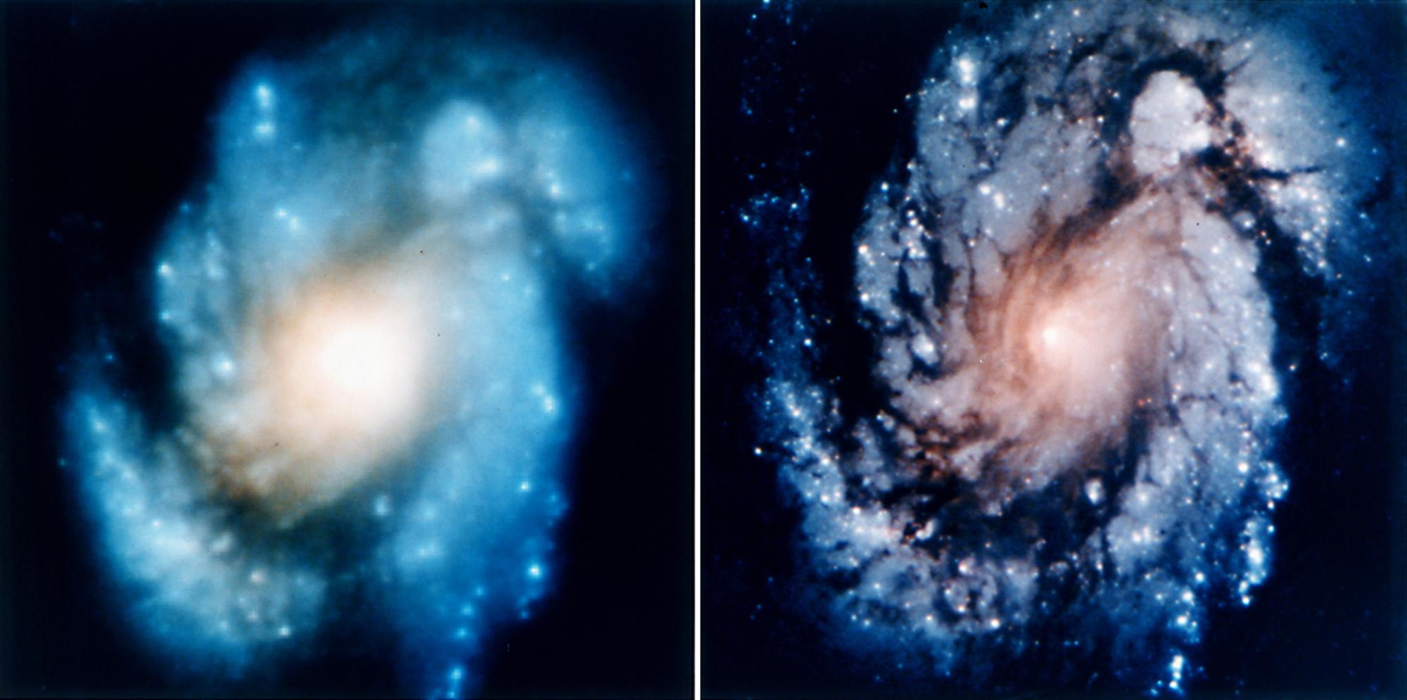 Hubble-Teleskop vor und nach der Optikkorrektur