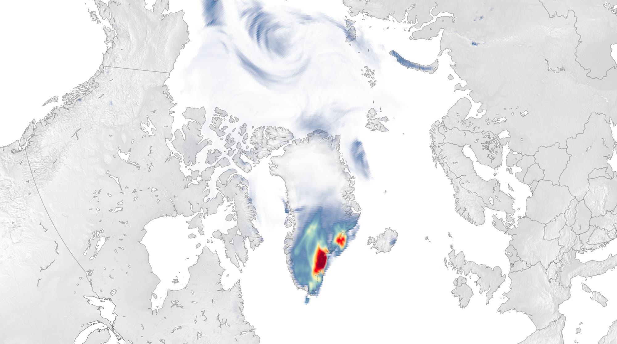Der ehemalige Wirbelsturm »Larry« brachte Schneemassen in den Südosten Grönlands. Je intensiver rot, desto mehr Schnee fiel auf das Inlandeis, das im Sommer 2021 wieder stark gelitten hatte.
