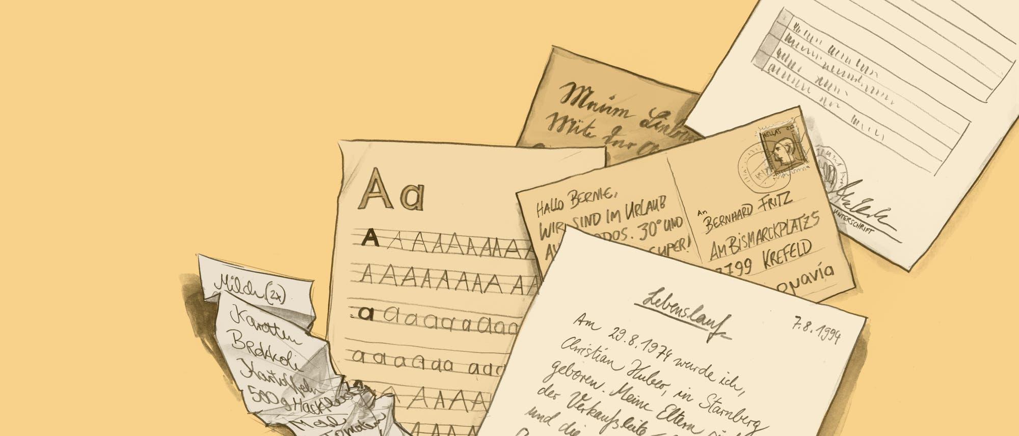 Illustration von Handschriften auf Postkarten, Zetteln und Dokumenten