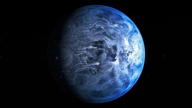 Der azurblaue Exoplanet HD 189733b im Sternbild Füchslein (Computergrafik)