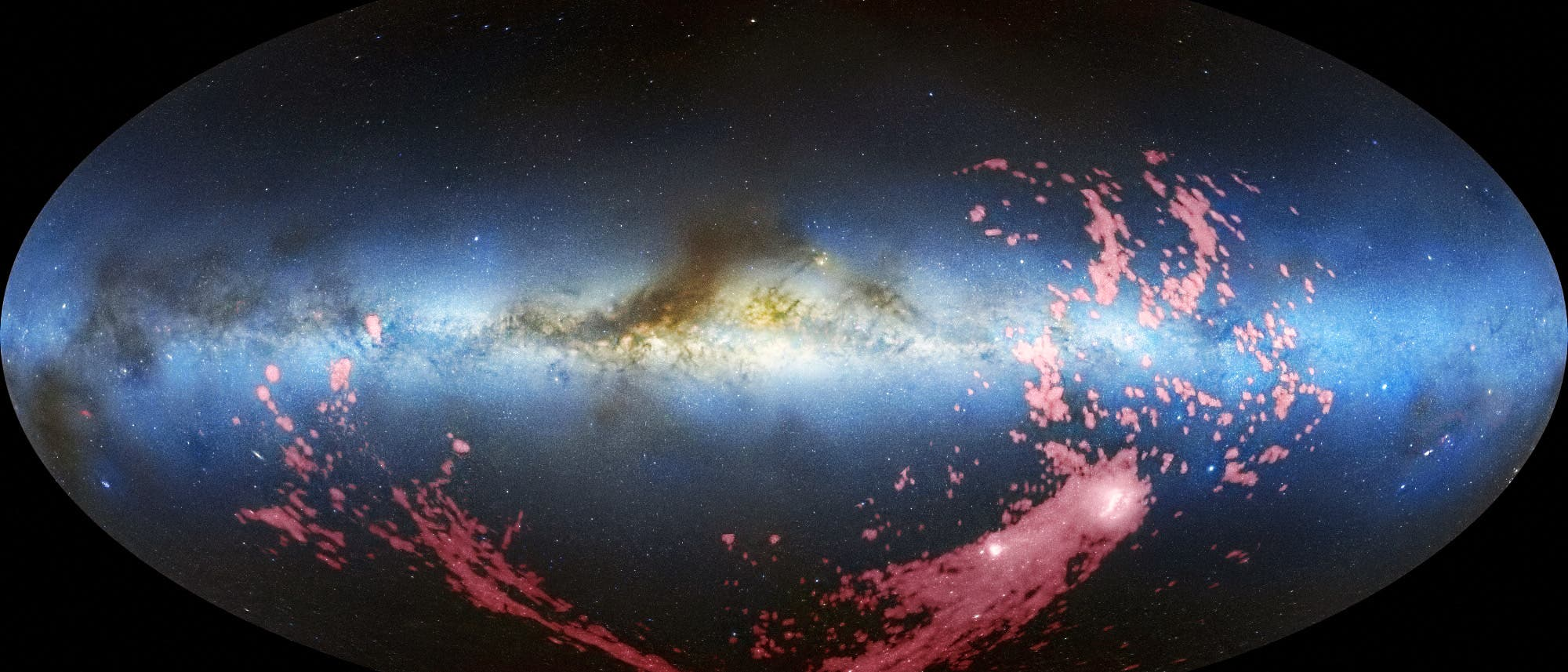 Der Magellansche Gasschweif (Radiokarte mit Milchstraßenpanorama)